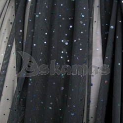 Elastic Black Chiffon With Spangles