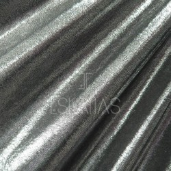 Lycra holograma plata negra