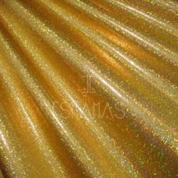 Lycra mini holograma dorada